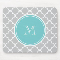 Gray Quatrefoil Pattern, Teal Monogram Mouse Pad
