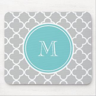 Gray Quatrefoil Pattern, Teal Monogram Mouse Pad