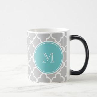 Gray Quatrefoil Pattern, Teal Monogram Mug
