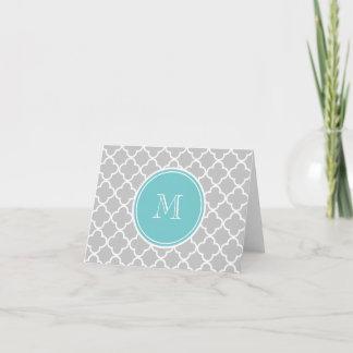 Gray Quatrefoil Pattern, Teal Monogram Note Card