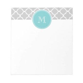 Gray Quatrefoil Pattern, Teal Monogram Memo Pad