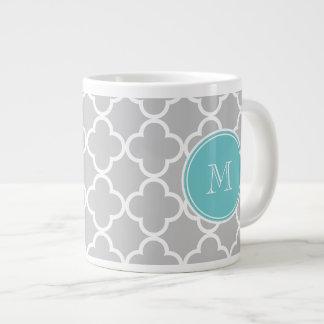Gray Quatrefoil Pattern, Teal Monogram Extra Large Mug