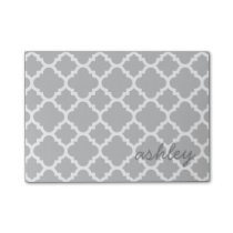 Gray Quatrefoil Pattern with Personalized Name Post-it Notes