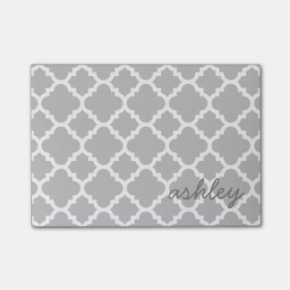 Gray Quatrefoil Pattern with Personalized Name Post-it® Notes