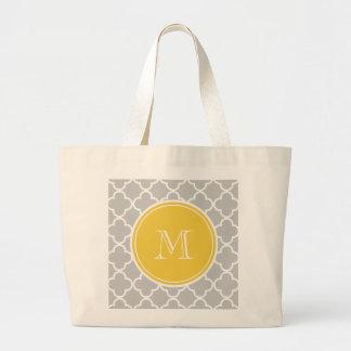 Gray Quatrefoil Pattern, Yellow Monogram Tote Bag