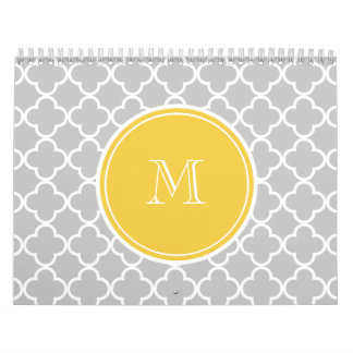 Gray Quatrefoil Pattern, Yellow Monogram Wall Calendars