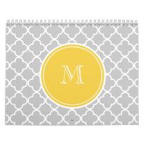 Gray Quatrefoil Pattern, Yellow Monogram Calendar