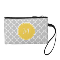 Gray Quatrefoil Pattern, Yellow Monogram Change Purse