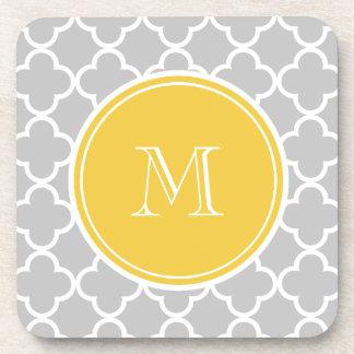 Gray Quatrefoil Pattern, Yellow Monogram Coaster