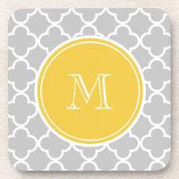 Gray Quatrefoil Pattern, Yellow Monogram Drink Coaster