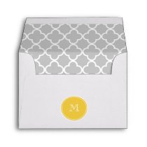 Gray Quatrefoil Pattern, Yellow Monogram Envelope
