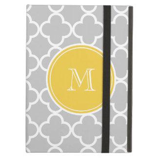 Gray Quatrefoil Pattern, Yellow Monogram iPad Air Cover