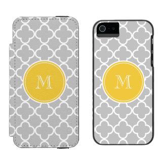 Gray Quatrefoil Pattern, Yellow Monogram iPhone SE/5/5s Wallet Case