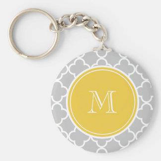 Gray Quatrefoil Pattern, Yellow Monogram Key Chain