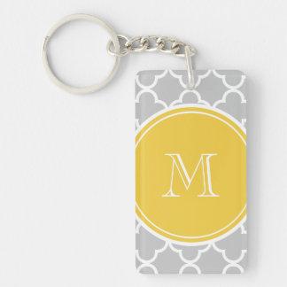 Gray Quatrefoil Pattern, Yellow Monogram Acrylic Keychains