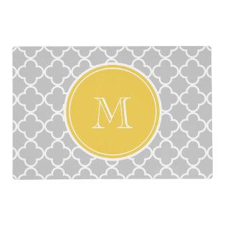 Gray Quatrefoil Pattern, Yellow Monogram Laminated Placemat