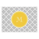 Gray Quatrefoil Pattern, Yellow Monogram Large Business Card