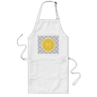 Gray Quatrefoil Pattern, Yellow Monogram Long Apron