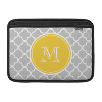 Gray Quatrefoil Pattern, Yellow Monogram MacBook Sleeve