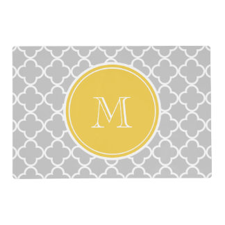 Gray Quatrefoil Pattern, Yellow Monogram Placemat