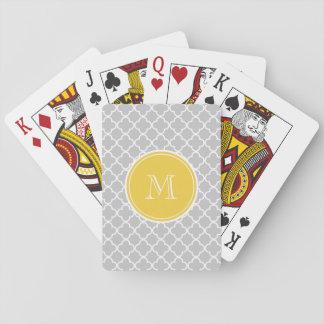 Gray Quatrefoil Pattern, Yellow Monogram Poker Cards