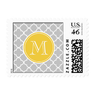 Gray Quatrefoil Pattern Yellow Monogram Stamps