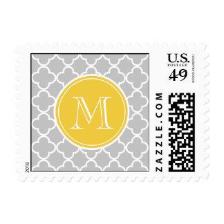 Gray Quatrefoil Pattern, Yellow Monogram Stamps