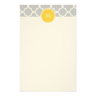Gray Quatrefoil Pattern, Yellow Monogram Personalized Stationery