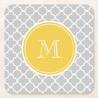 Gray Quatrefoil Pattern, Yellow Monogram Square Paper Coaster