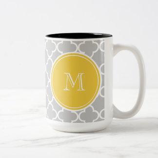 Gray Quatrefoil Pattern, Yellow Monogram Two-Tone Coffee Mug