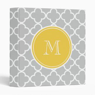 Gray Quatrefoil Pattern, Yellow Monogram Vinyl Binders