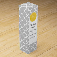 Gray Quatrefoil Pattern, Yellow Monogram Wine Gift Box