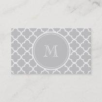 Gray Quatrefoil Pattern, Your Monogram Business Card