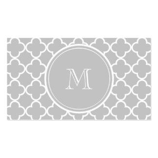 Gray Quatrefoil Pattern, Your Monogram Business Cards