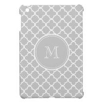 Gray Quatrefoil Pattern, Your Monogram iPad Mini Case