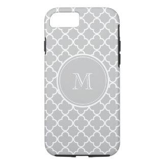 Gray Quatrefoil Pattern, Your Monogram iPhone 8/7 Case