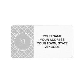 Gray Quatrefoil Pattern, Your Monogram Personalized Address Labels