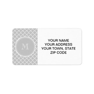 Gray Quatrefoil Pattern, Your Monogram Personalized Address Labels