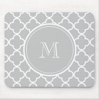 Gray Quatrefoil Pattern, Your Monogram Mouse Pad