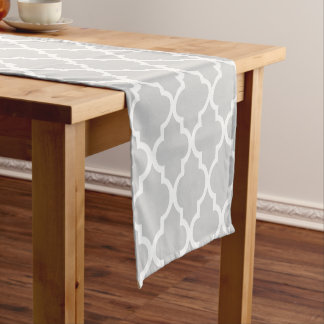 Gray Quatrefoil Tiles Pattern Short Table Runner