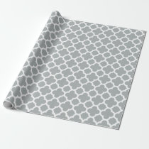 Gray Quatrefoil Trellis Pattern Wrapping Paper