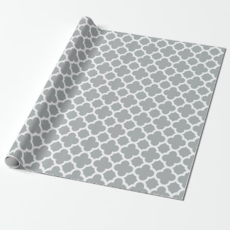 Gray Quatrefoil Trellis Pattern Wrapping Paper