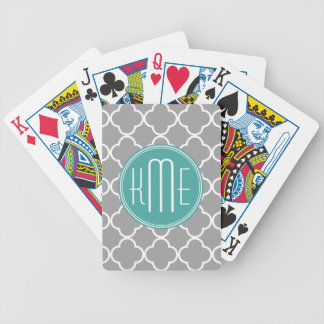 Gray Quatrefoil with Custom Mint Monogram Bicycle Playing Cards