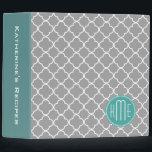 "Gray Quatrefoil with Custom Mint Monogram Binder<br><div class=""desc"">Gray Quatrefoil with Custom Mint Monogram</div>"