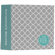 Gray Quatrefoil with Custom Mint Monogram Binder