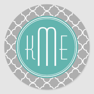 Gray Quatrefoil with Custom Mint Monogram Classic Round Sticker