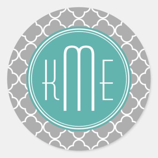 Gray Quatrefoil with Custom Mint Monogram Classic Round Sticker