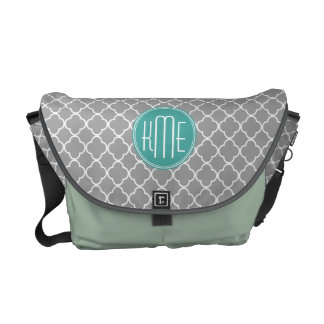 Gray Quatrefoil with Custom Mint Monogram Courier Bag
