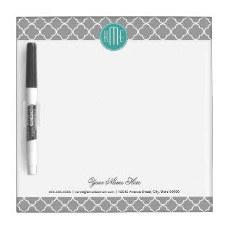 Gray Quatrefoil with Custom Mint Monogram Dry Erase Board