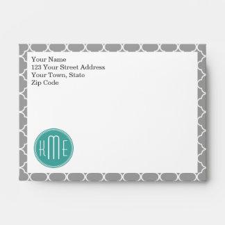 Gray Quatrefoil with Custom Mint Monogram Envelope